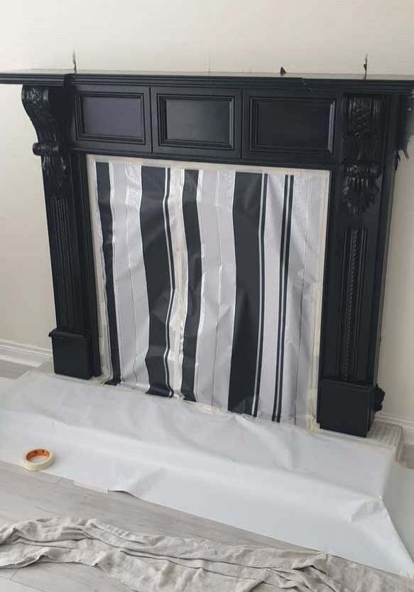 Resprayed Fireplace Before