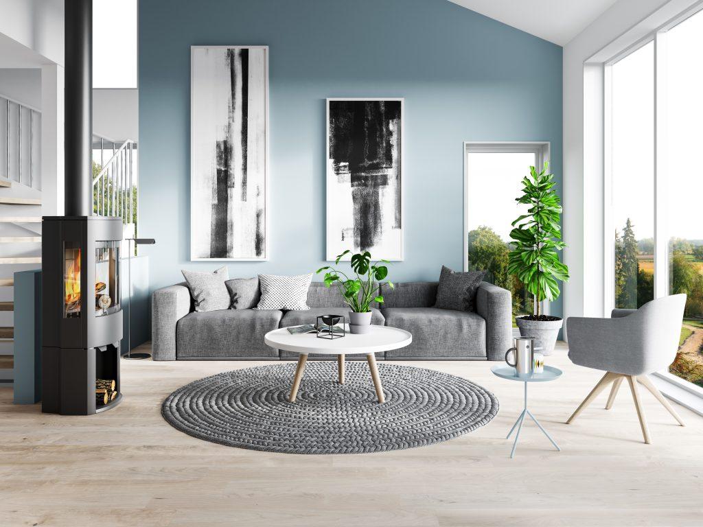 Modern living room with Wood burner